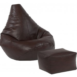 Highback Beanbag and footstool set Faux Leather