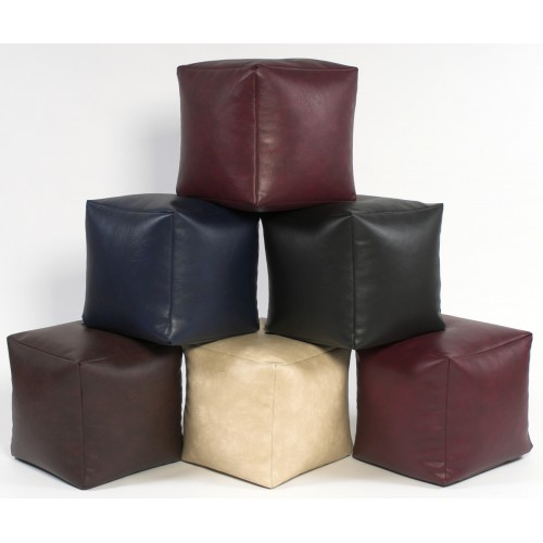 Footstool Cube Faux Leather Large