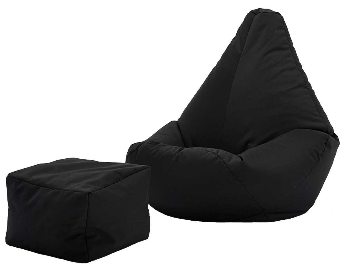 Awesome Highback Beanbag And Footstool Set Faux Leather Machost Co Dining Chair Design Ideas Machostcouk