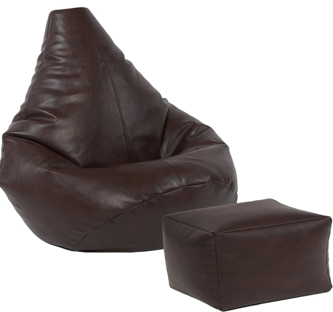 Stupendous Highback Beanbag And Footstool Set Faux Leather Machost Co Dining Chair Design Ideas Machostcouk