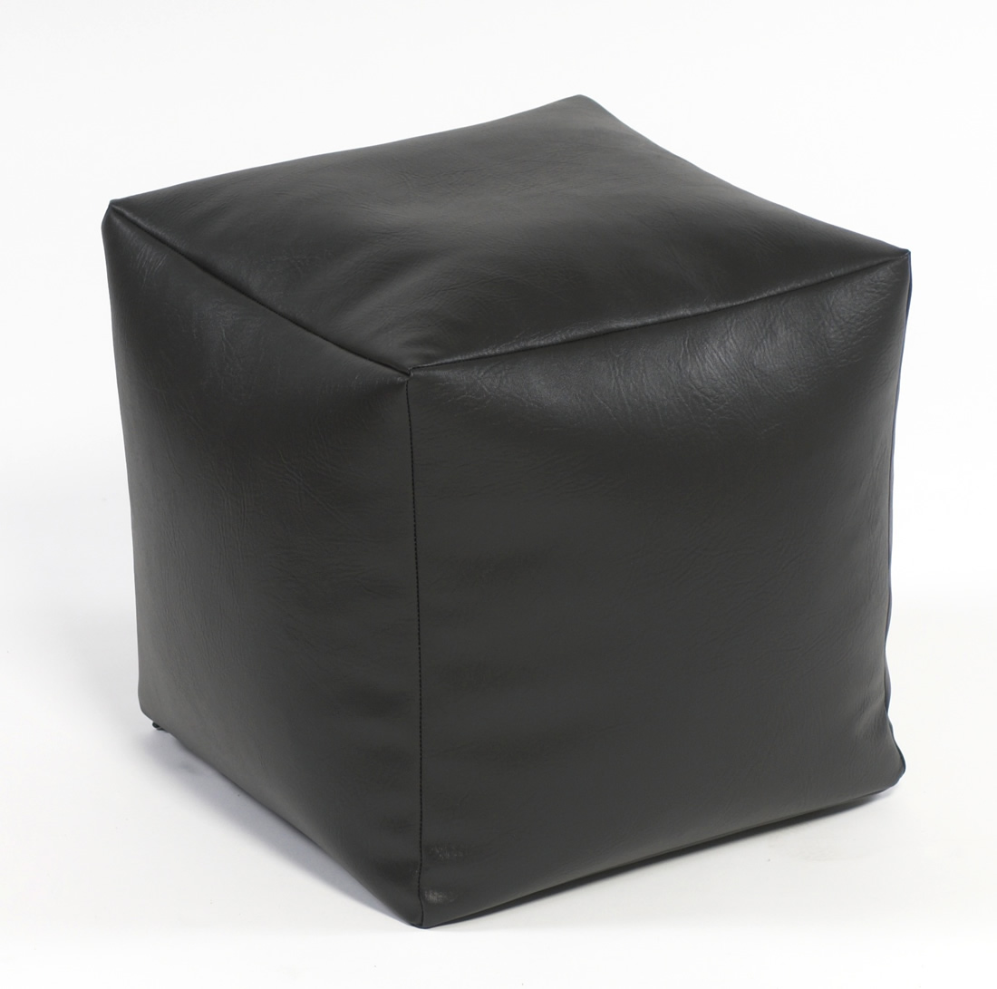 Footstool cube faux leather for Black leather footstool